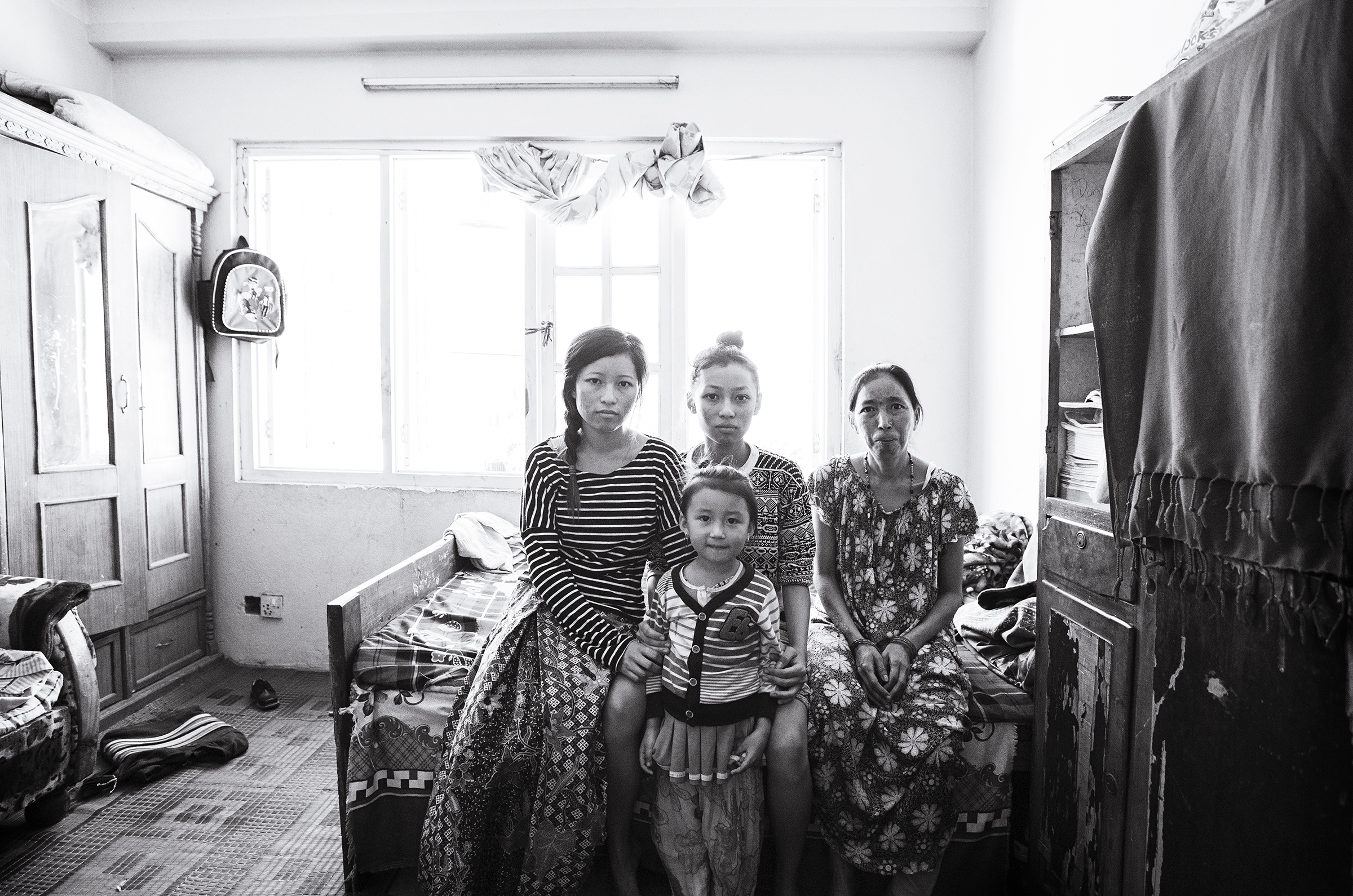 Left to right: Anu (21), Anjika (5), Anita (14), Phoolmaya (40s).