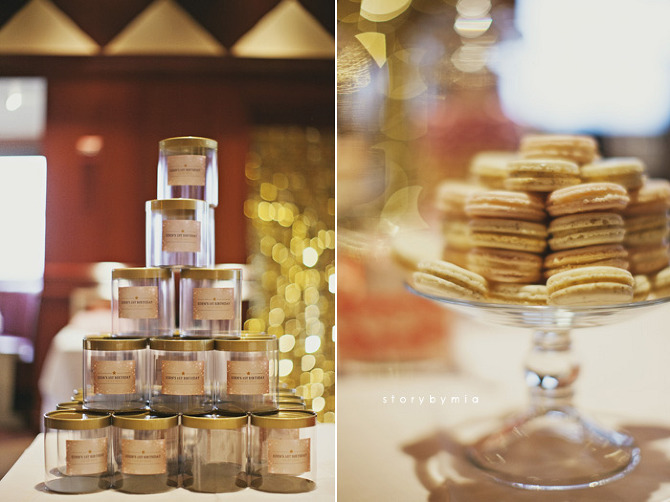 Clear favor boxes with gold lid and custom labels for guests to fill at our candy/dessert bar.