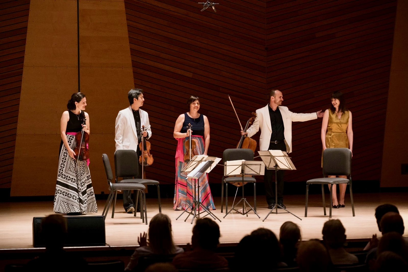 Onstage in Harris Concert Hall with the Jupiter String Quartet immediately after the world premiere of  Imprimatur