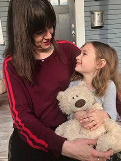 With Olivia, 7 years old, in May 2019