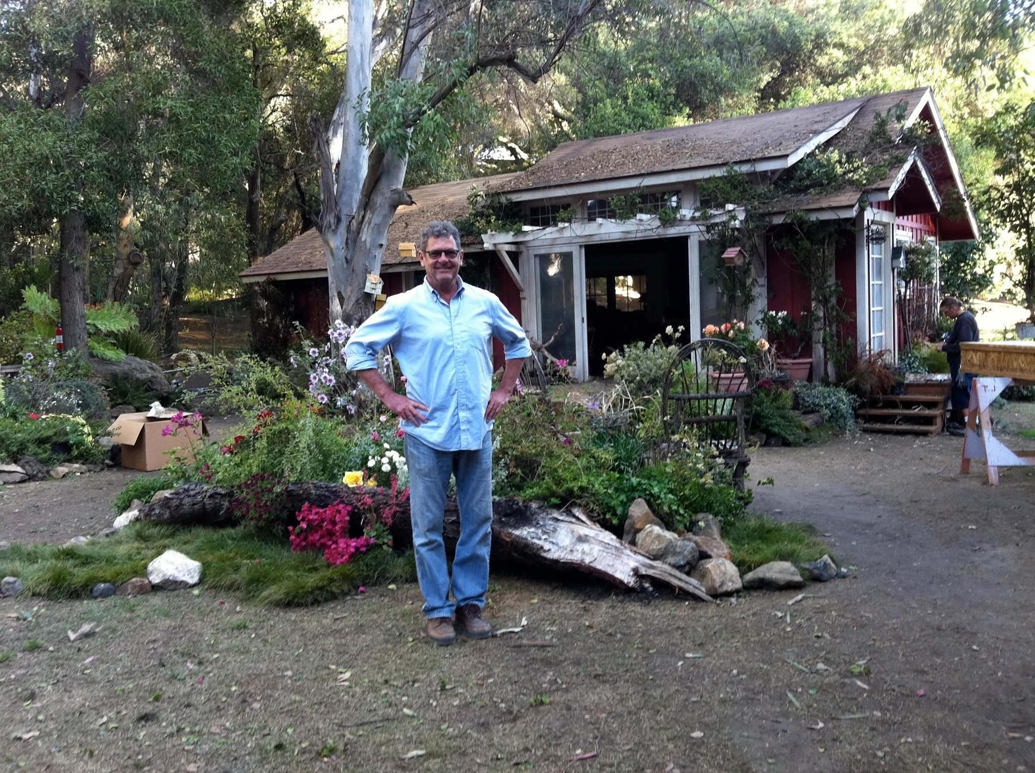 Art Director David Potts In front of a newly built set.