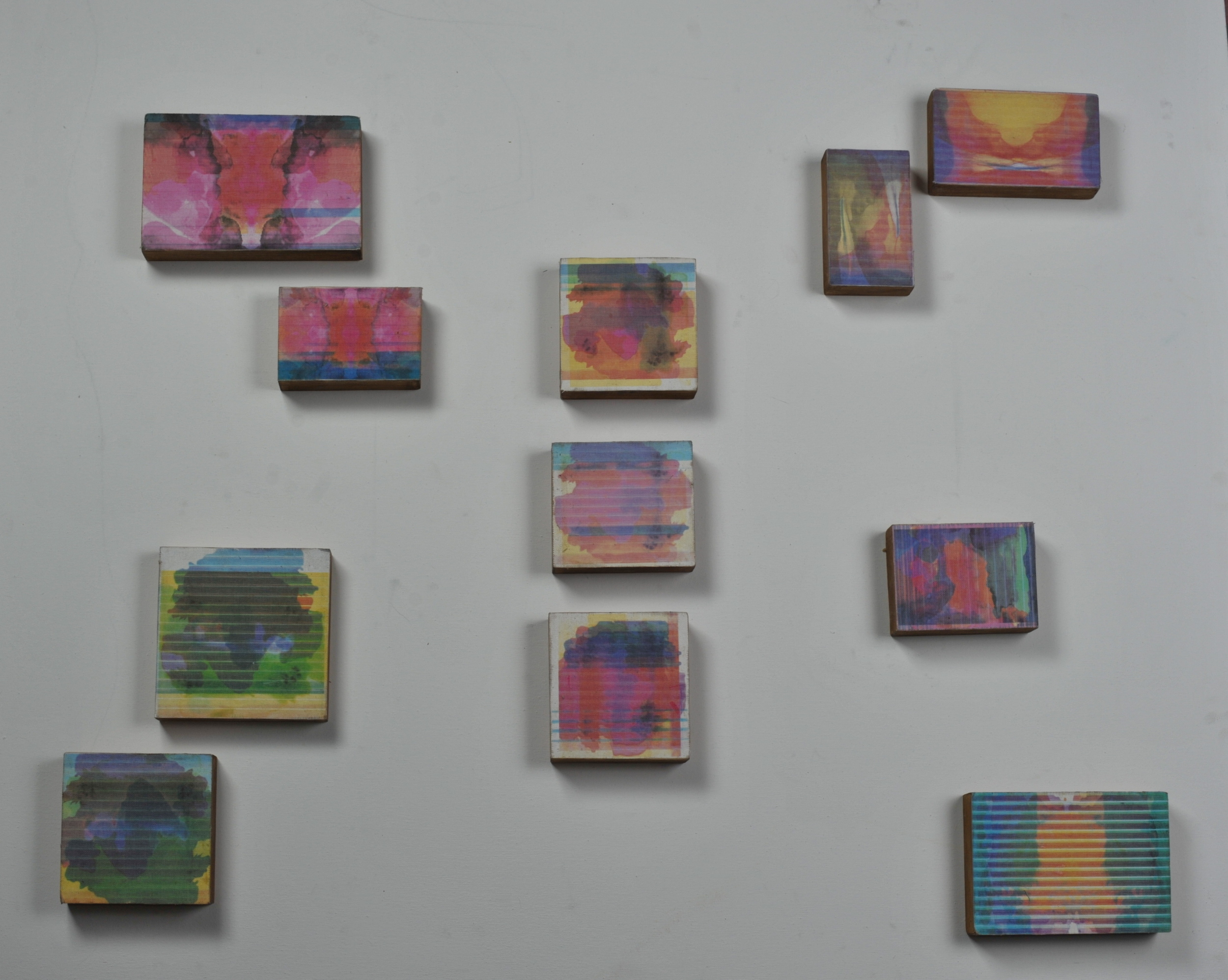 Stain Variations , various sizes (largest 6x9.5), inkjet on canvas, 2011