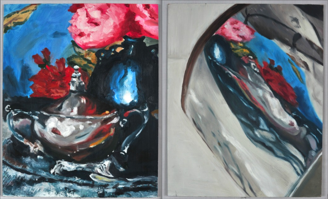Reflection (diptych) , oil on masonite, 14x20, 2009