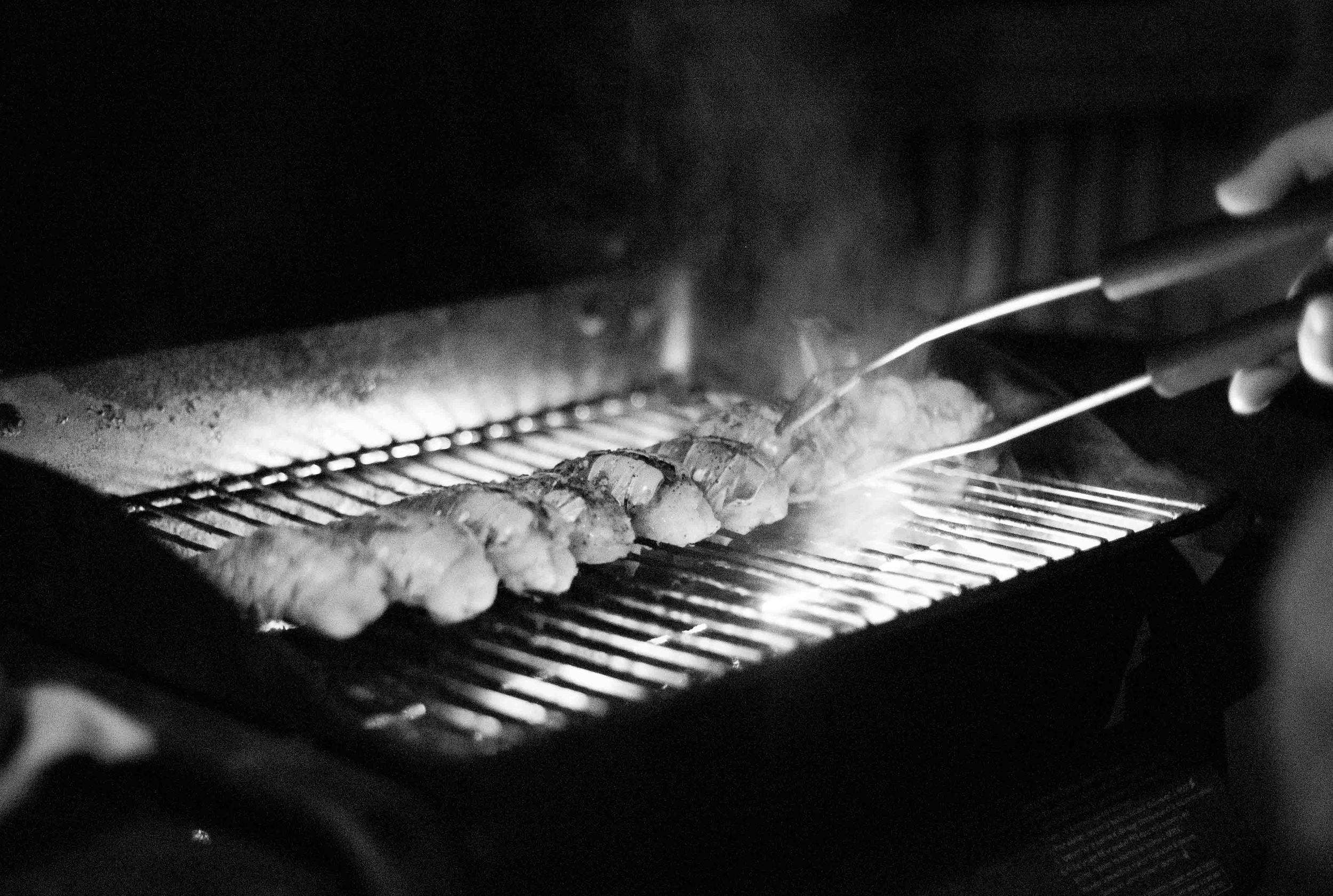 grilling fresh lobster