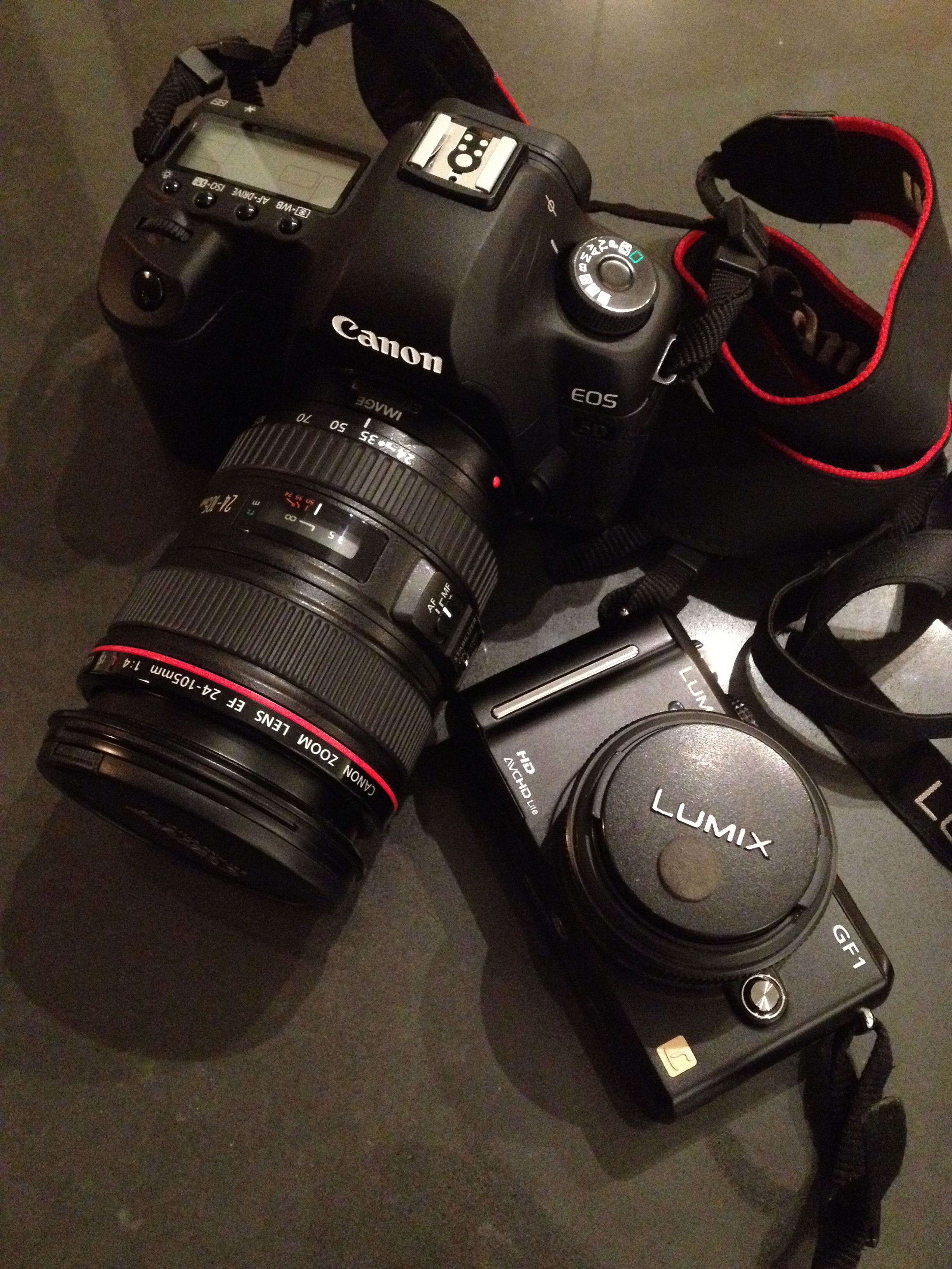 Canon 5D Mark II with a 24 -105L lens and my Panasonic GF1 with a 20 mm pancake.  ©Caroline Yung 2012