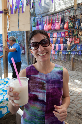 Mercedes with agua de horchata (rice drink)