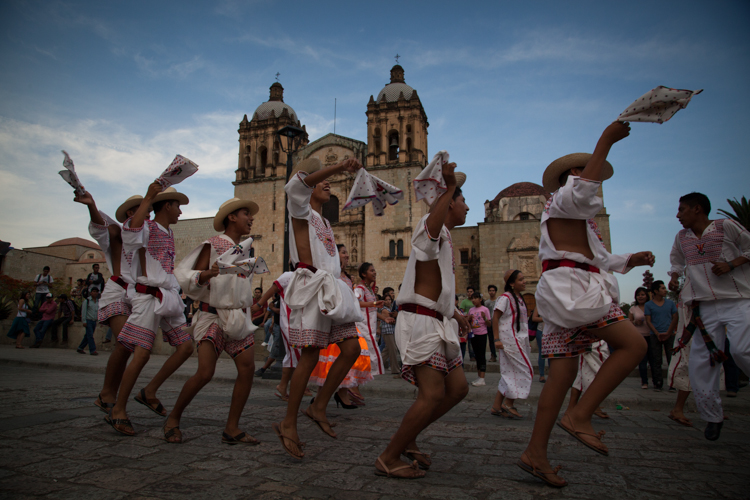 Parade in front of Santo Domingo Church, Oaxaca City - Mexico