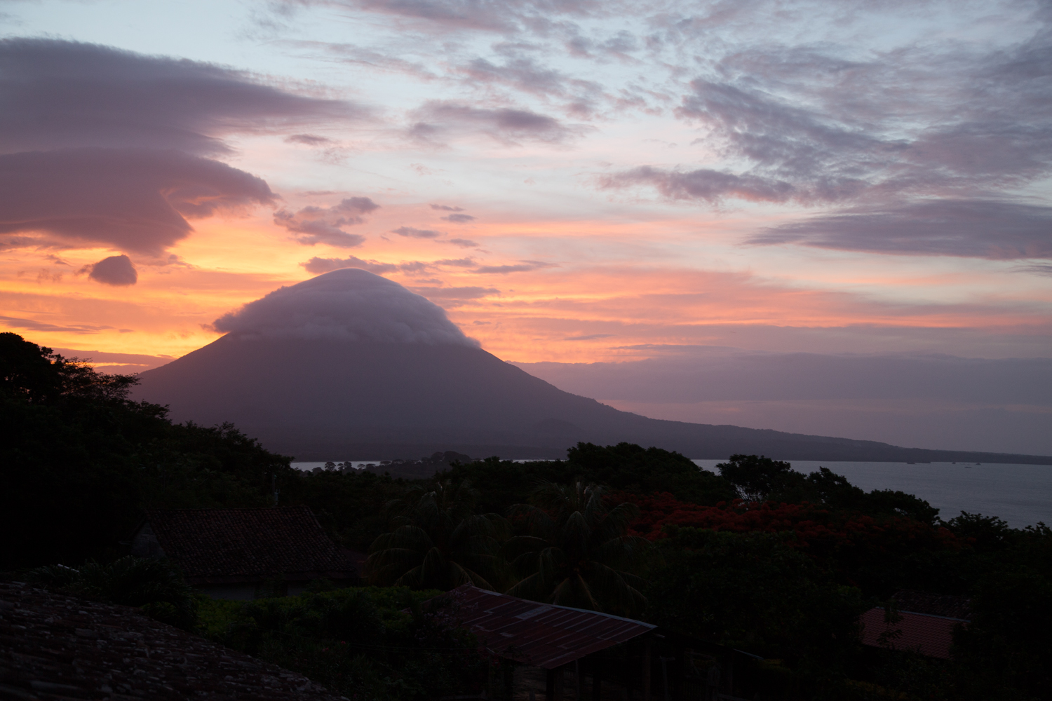 Sunset view from Finca de Magdalena at the base of Volcano Madera