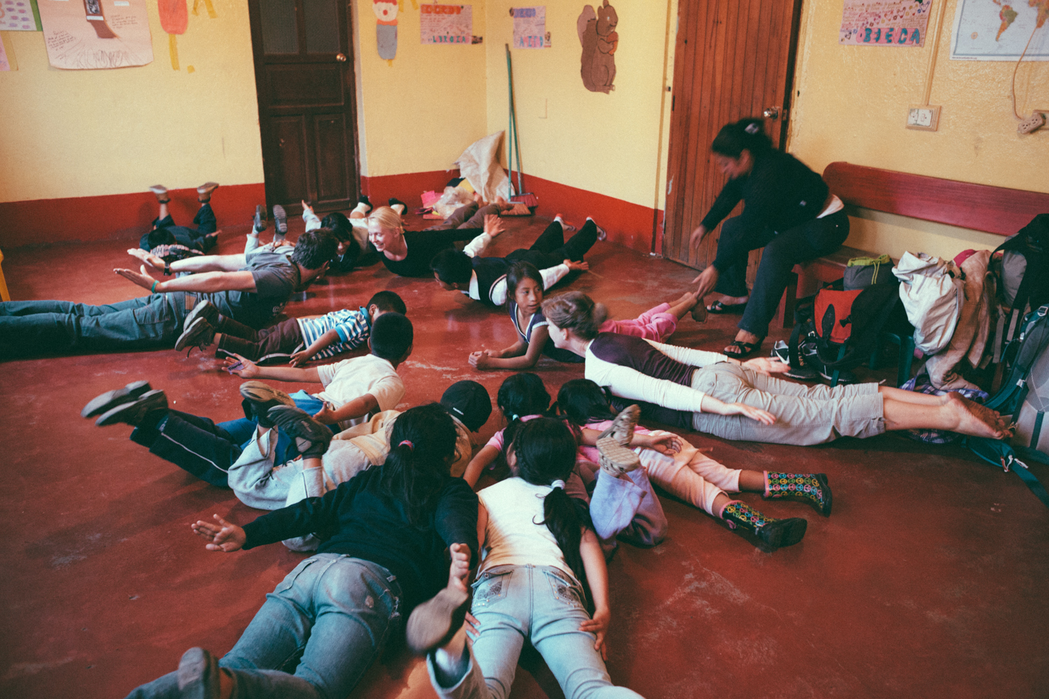 A yoga class led by Lauren was one of the activities we organized at the educational support centre