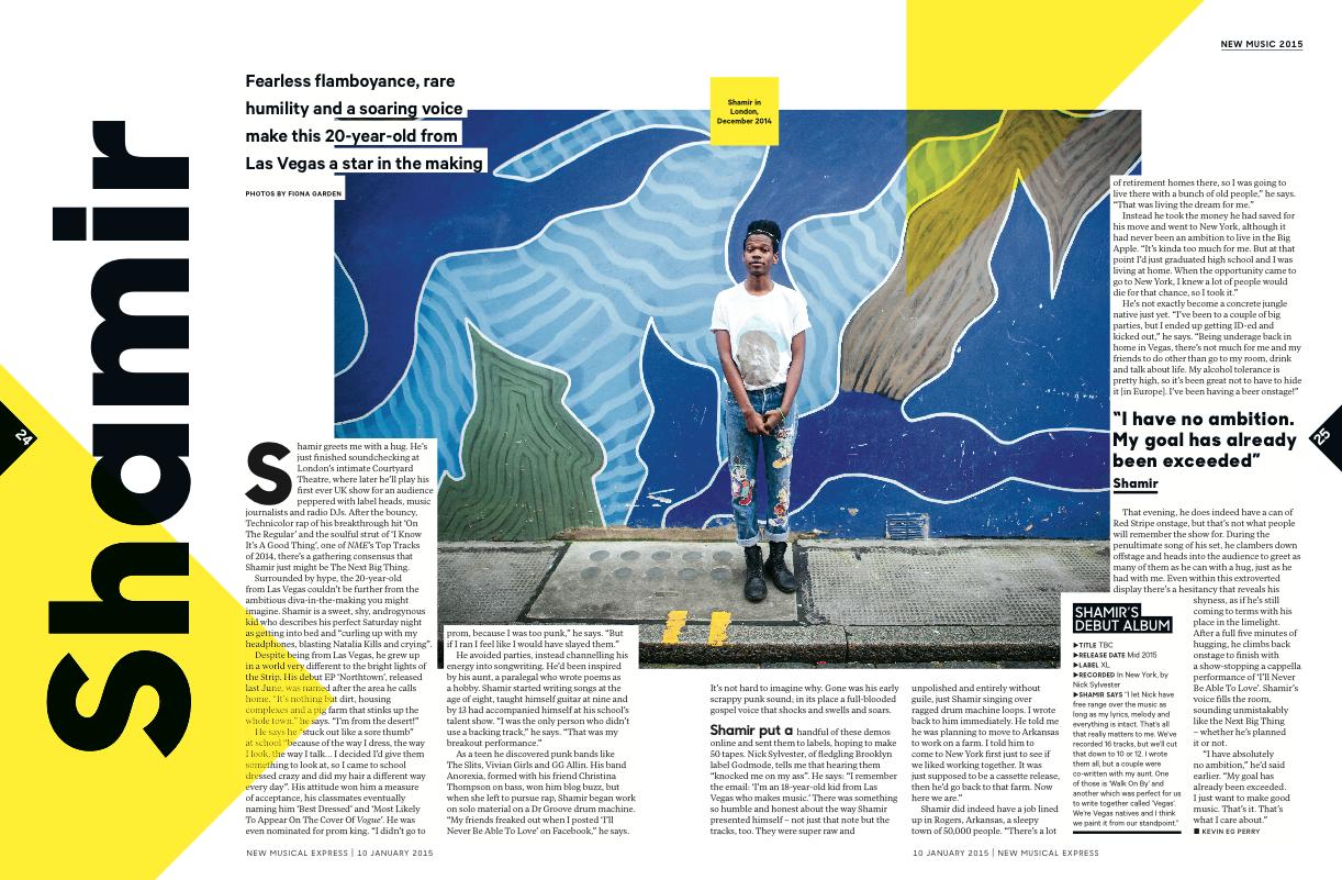 Shamir Bailey by Fiona Garden for NME 2015
