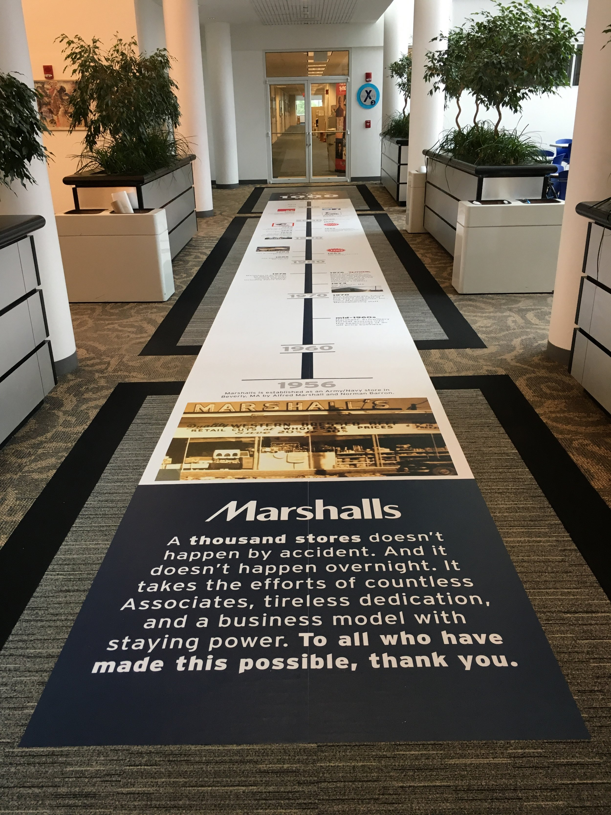 A timeline of the history of Marshalls on the floor of the main cafeteria