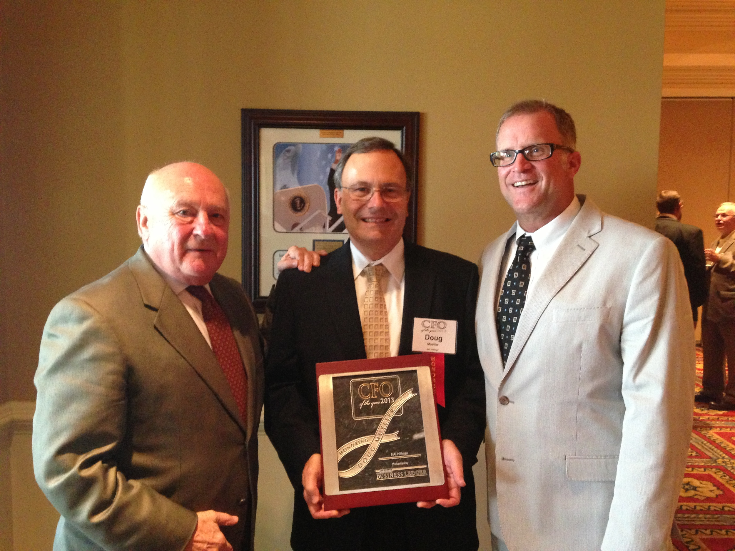 (From left to right) NAI Hiffman Chairman, Dennis Hiffman; CFO, Doug Mueller; DuPage County Board Chairman, Dan Cronin