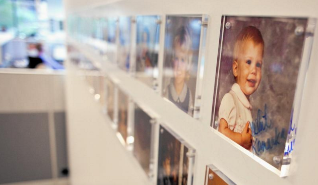 Employees' baby pictures hang on the wall of real estate brokerage NAI Hiffman in Oakbrook Terrace. (James C. Svehla / Chicago Tribune)