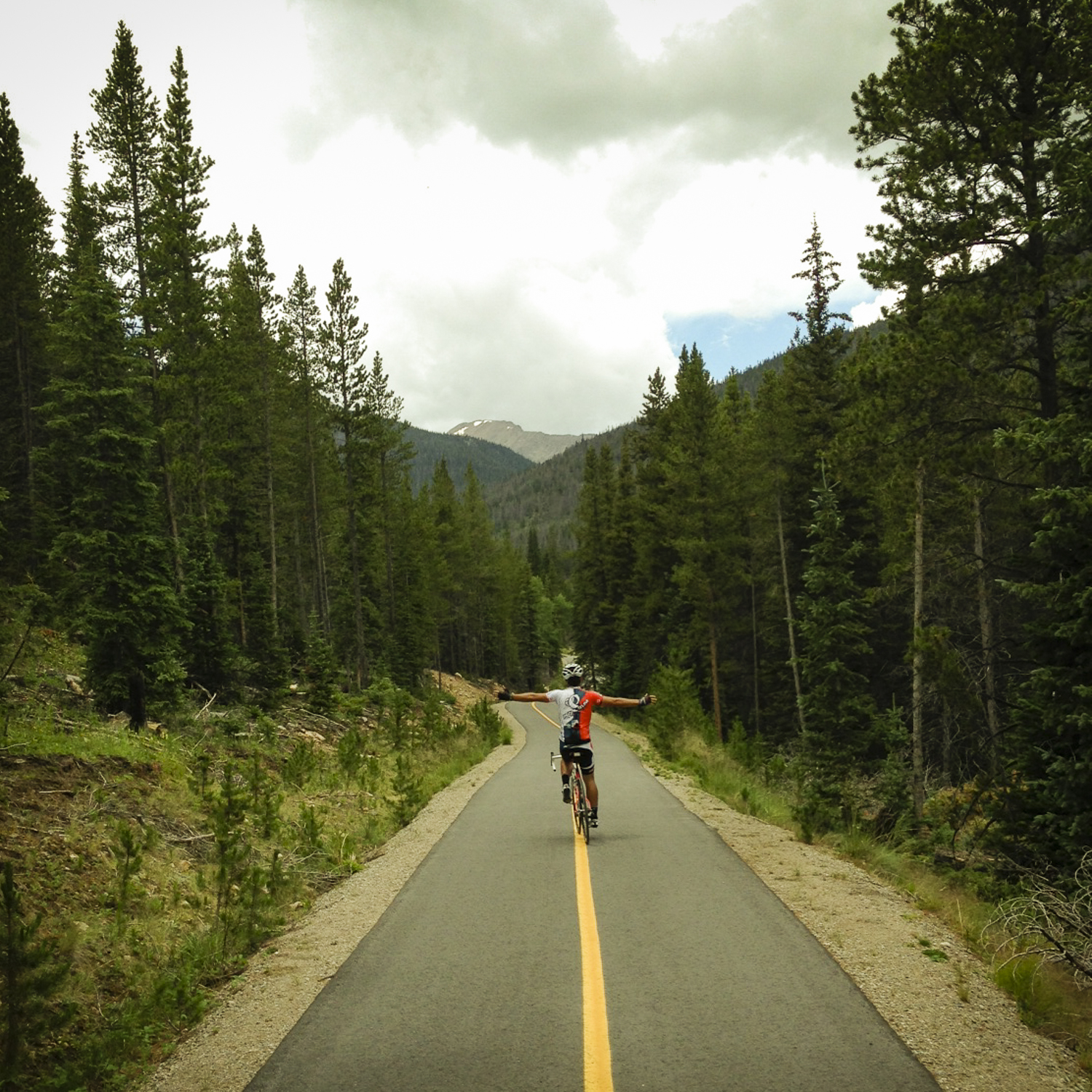 There are miles of perfect, empty bike path leading up to Loveland Pass.
