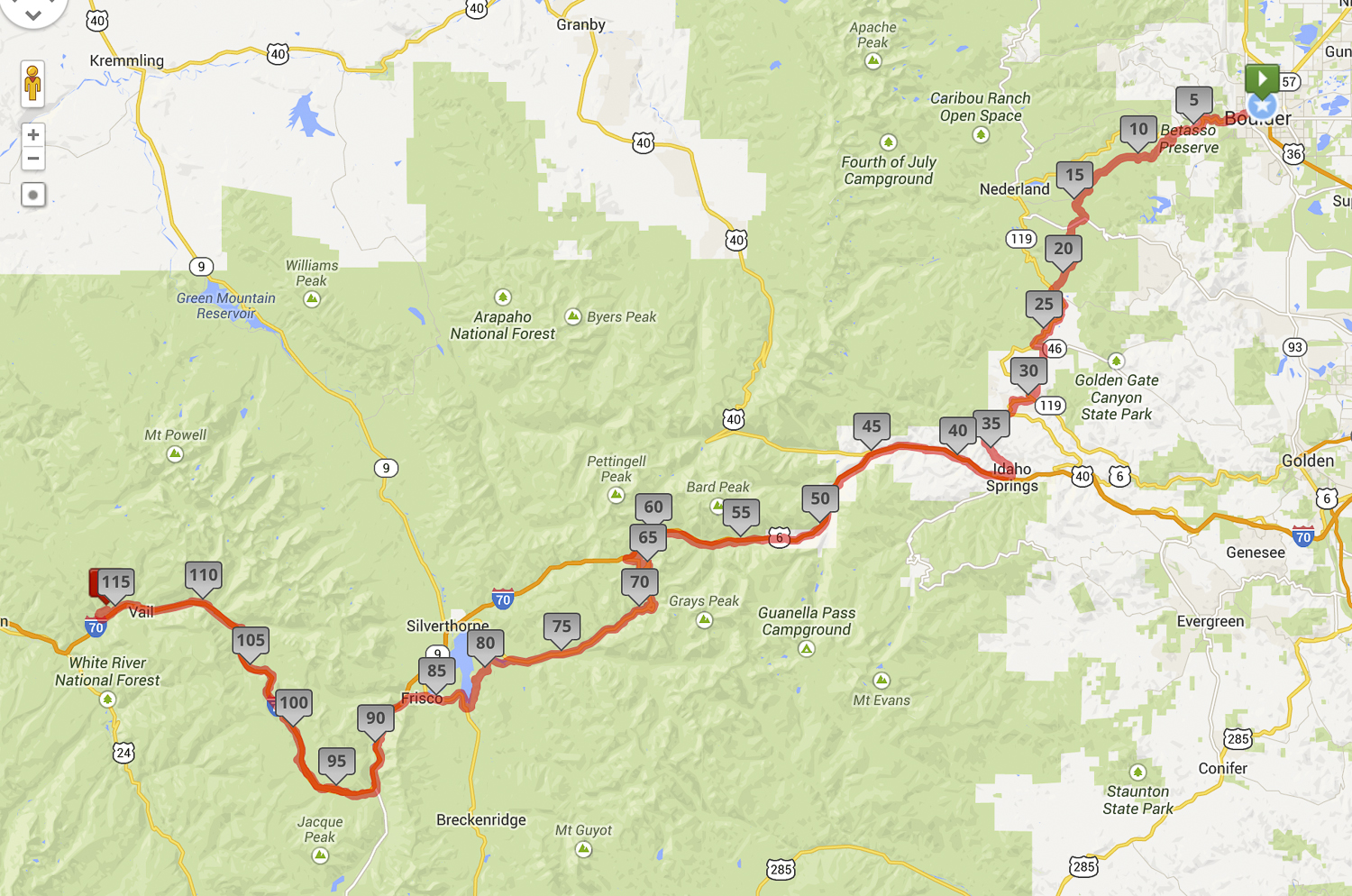 Day One: Boulder > Central City > Idaho Springs > Loveland Pass > Frisco > Vail Pass > Vail.