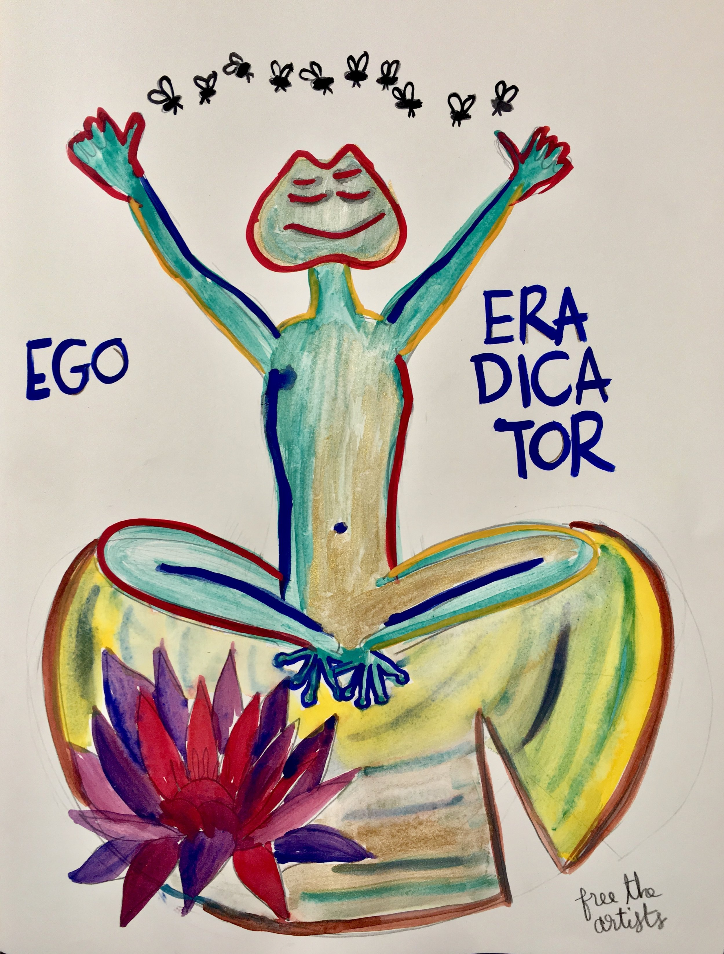 Ego Eradicator, 2019  pencil and watercolor on paper