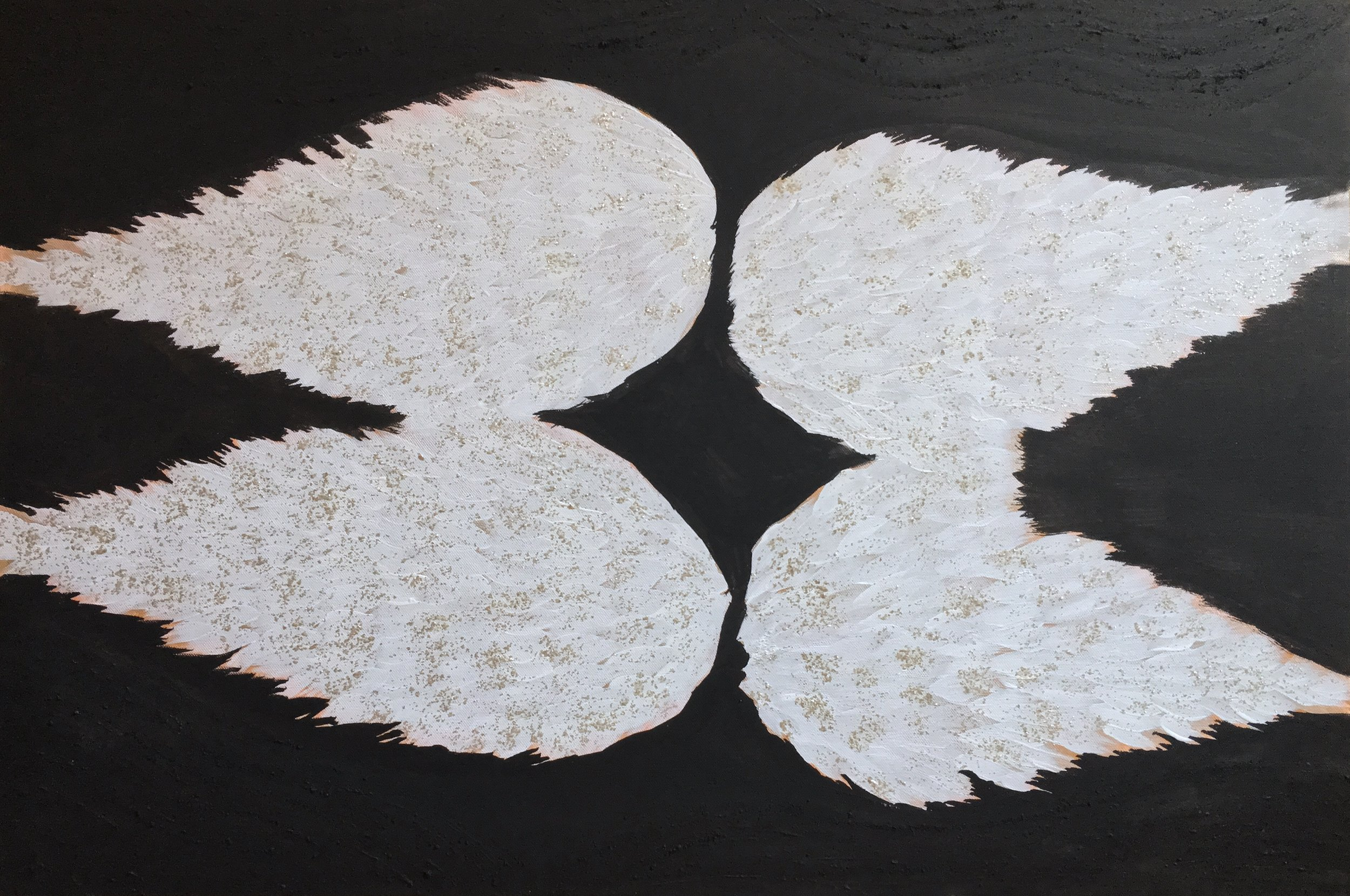 Angel Wings, 2014-2019  watercolor, acrylic and gold mica on stretched canvas