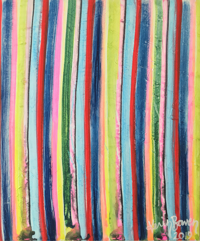 Stripes, 2018  gouache on canvas board