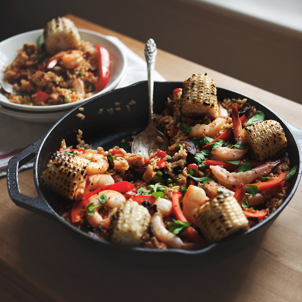 Old Bay Shrimp Paella with Charred Corn + Bacon