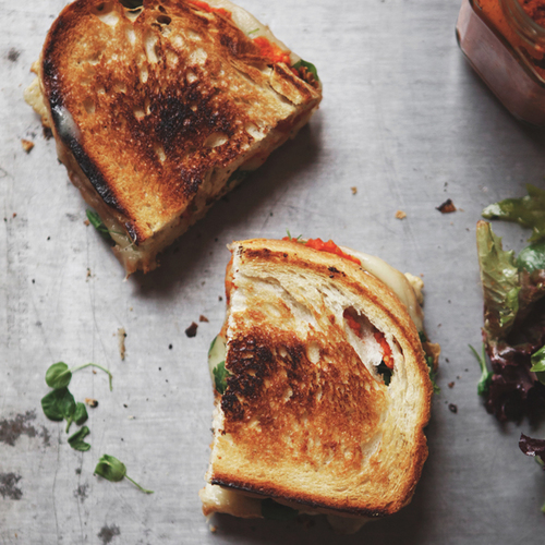 Romesco Grilled Cheese With Gruyere + Watercress