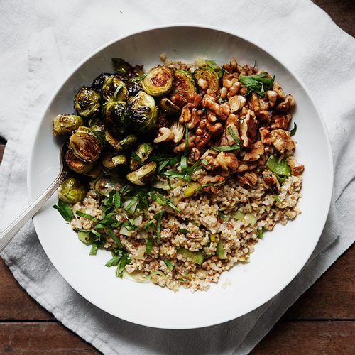 Homemade Grain Blend With Roasted Brussels Sprouts And Walnuts