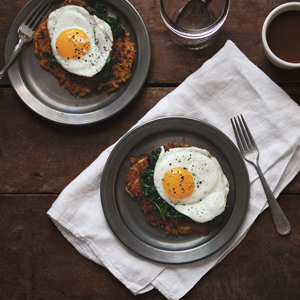 butternut squash potato pancakes with spinach and fried eggs