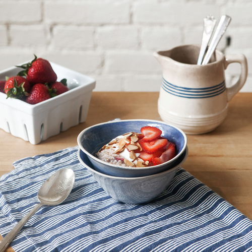 chilled strawberry oatmeal with toasted almonds + honey yogurt