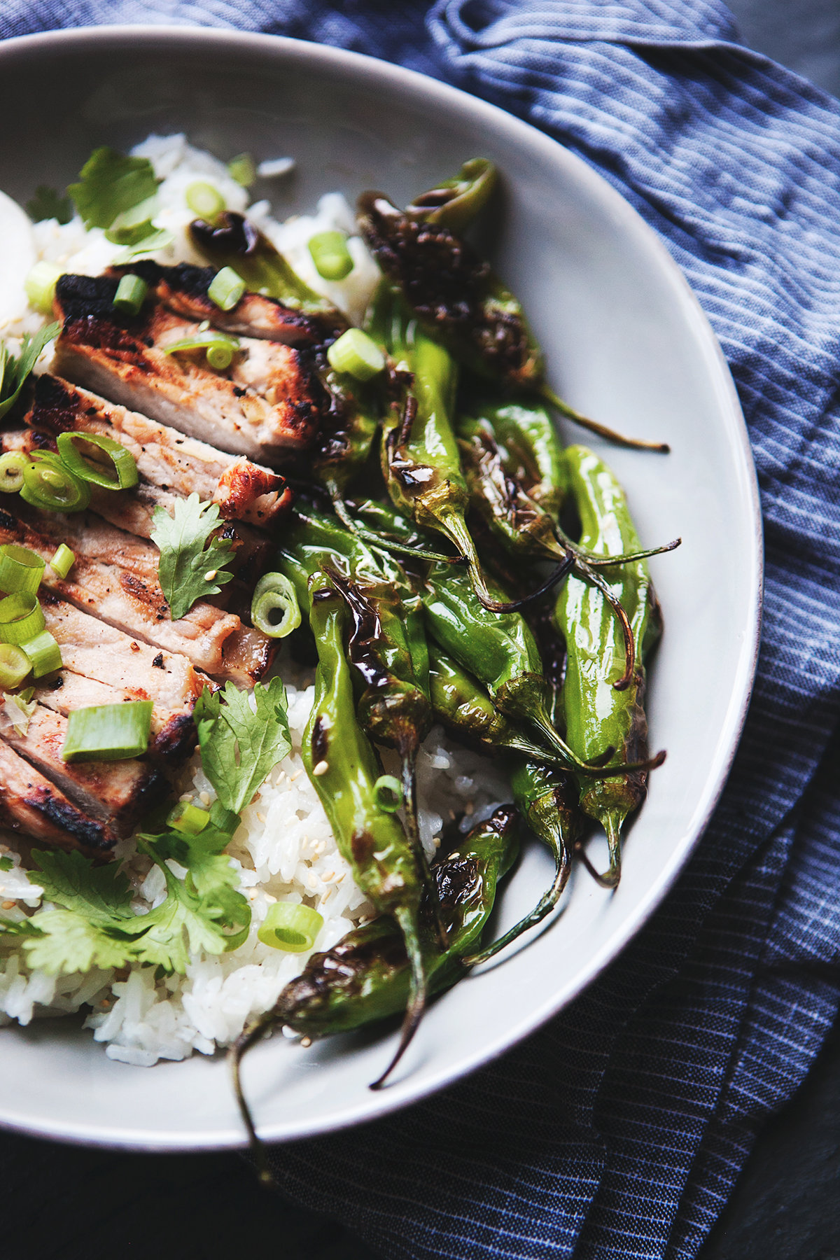 Thai Ginger Grilled Pork Rice Bowl with Charred Shishito
