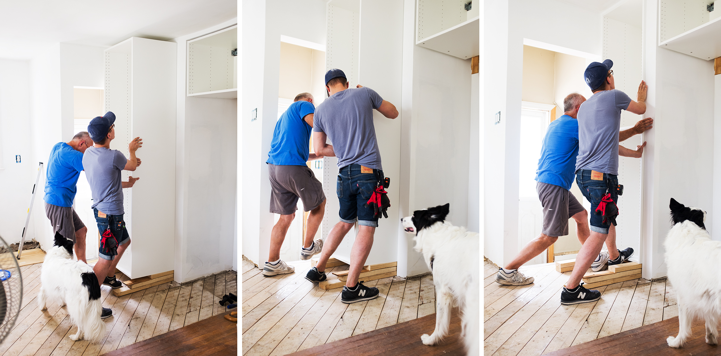 pantry installation ! this used to be the guest bedroom closet, we flipped it to give our tiny kitchen more storage.