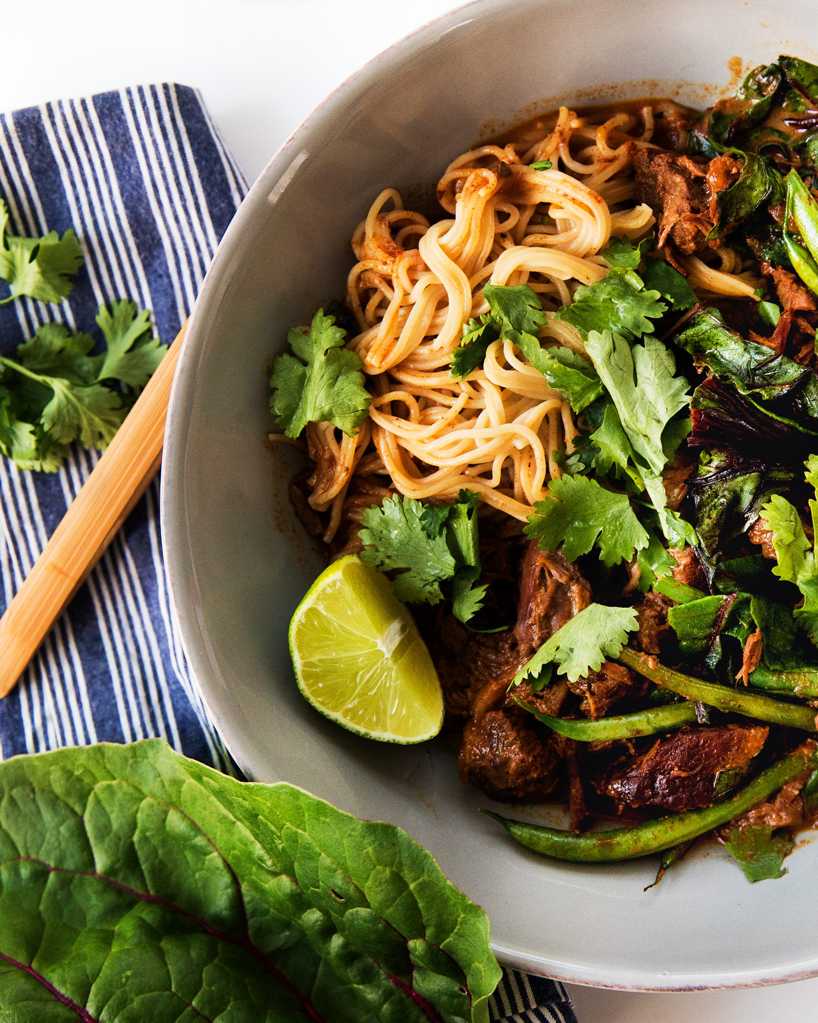 Slow Cooked Thai Beef Curry with Red Chard over Ramen