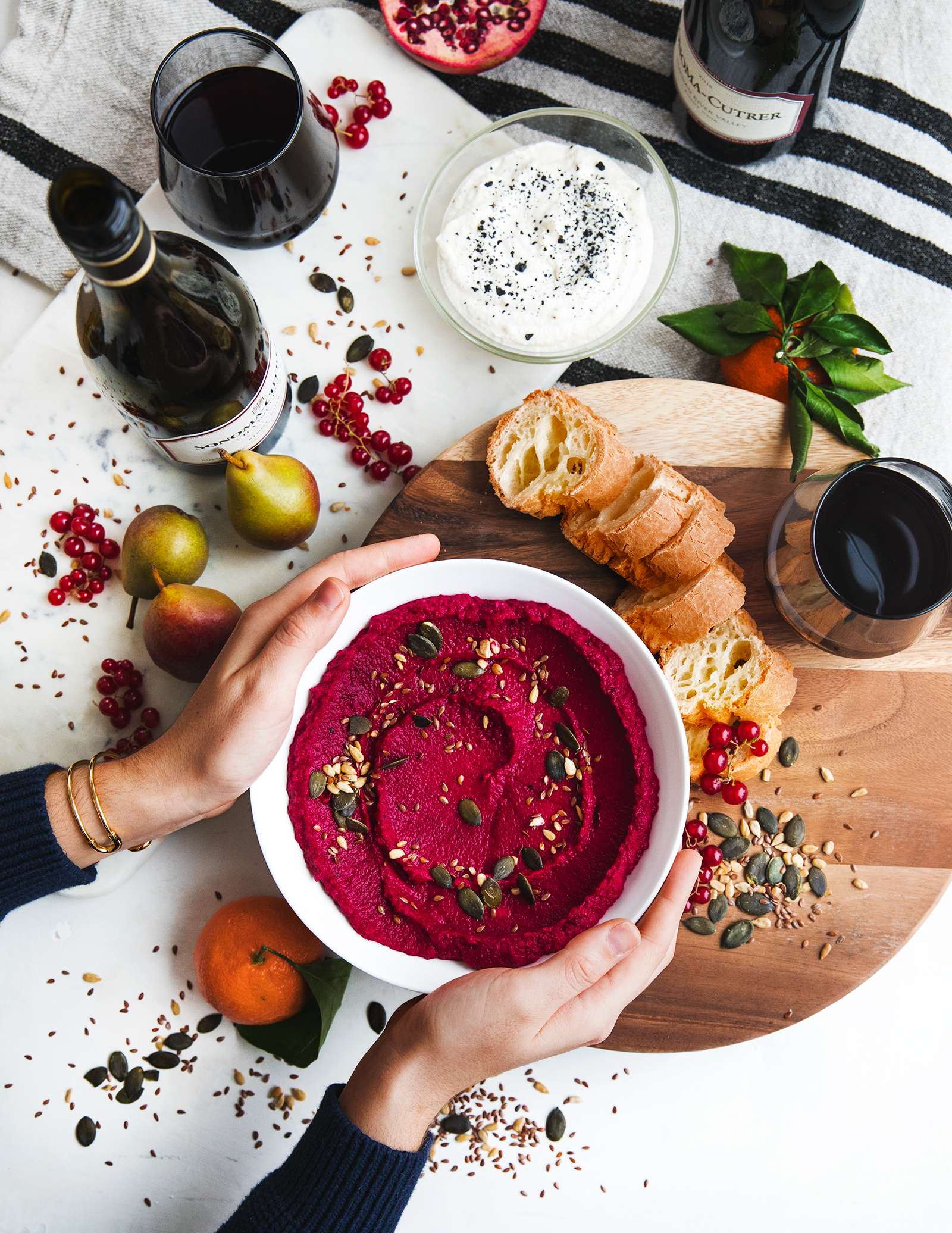 Roasted Beet Hummus with Seeds+ Honey Ricotta Dip with Black Salt - featuring Pinot Noir from Sonoma-Cutrer