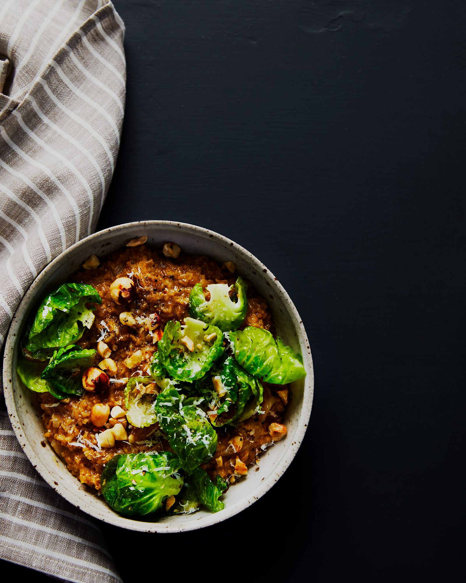 Savory Oatmeal Risotto with Brussels and Toasted Hazelnuts