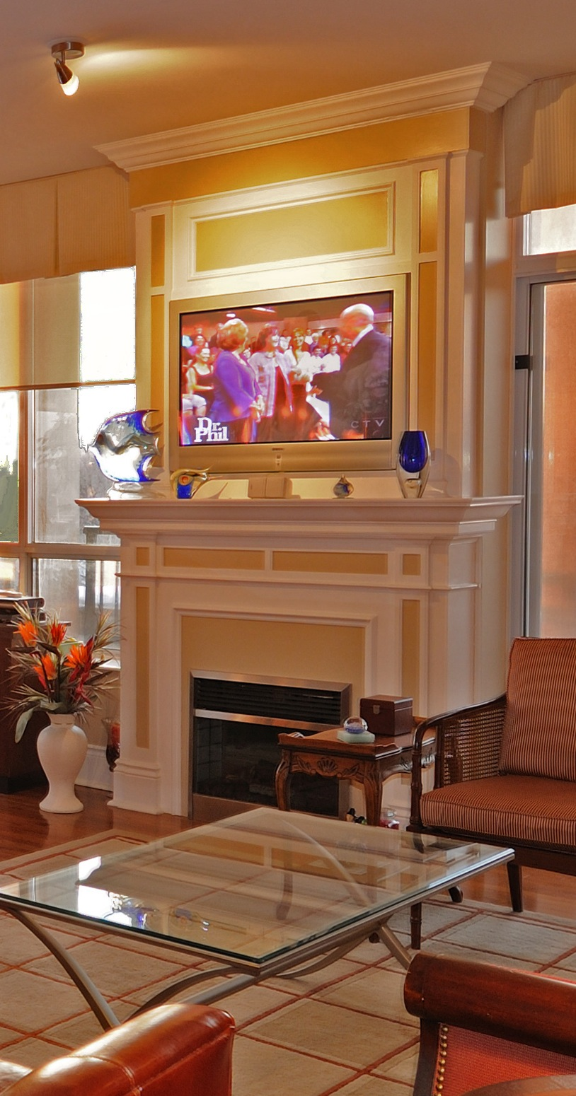 Fireplace At Sunset - Designed and Built by Spaces Custom Interiors