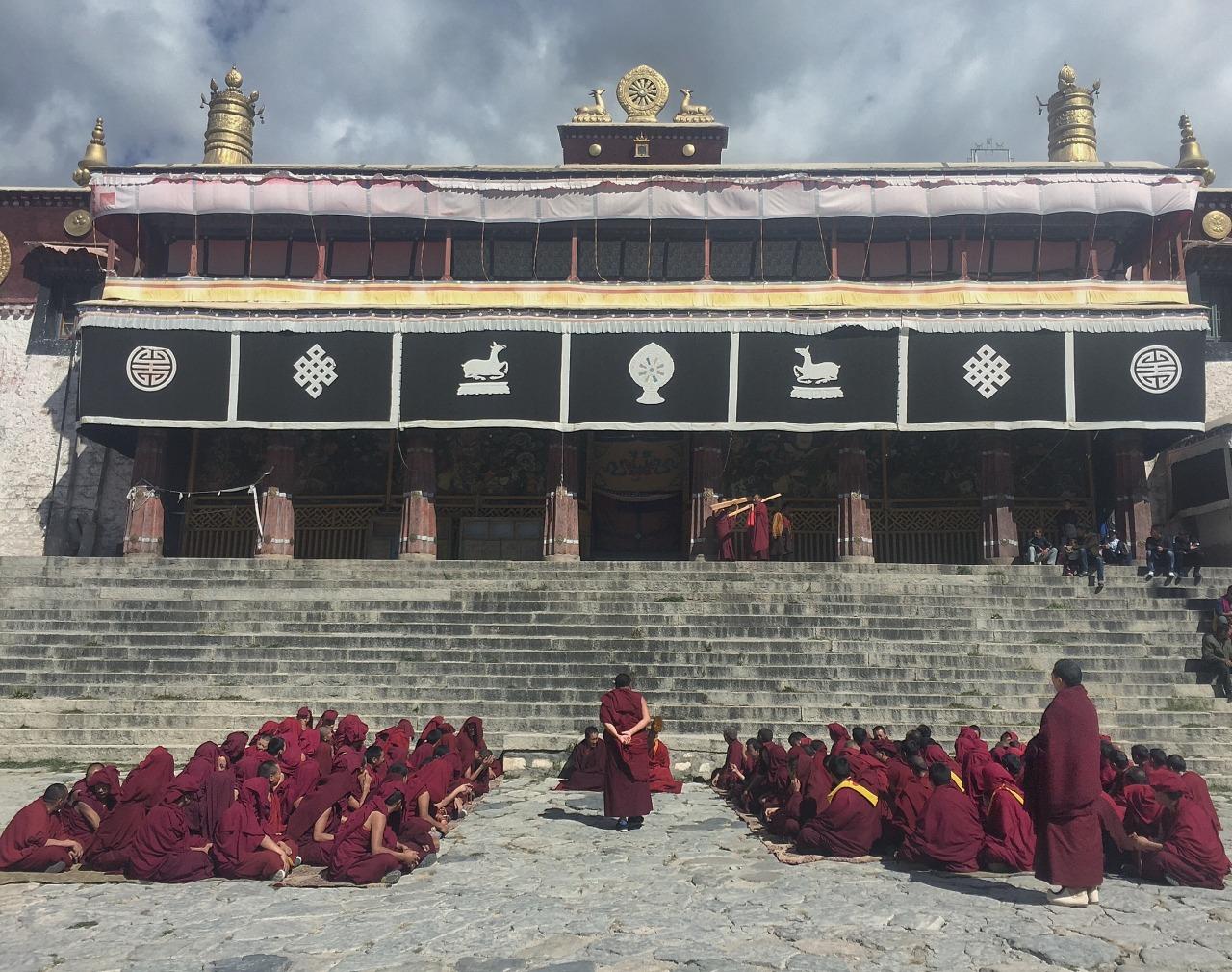 Monk debates, Drepung Monastery, Tibet.