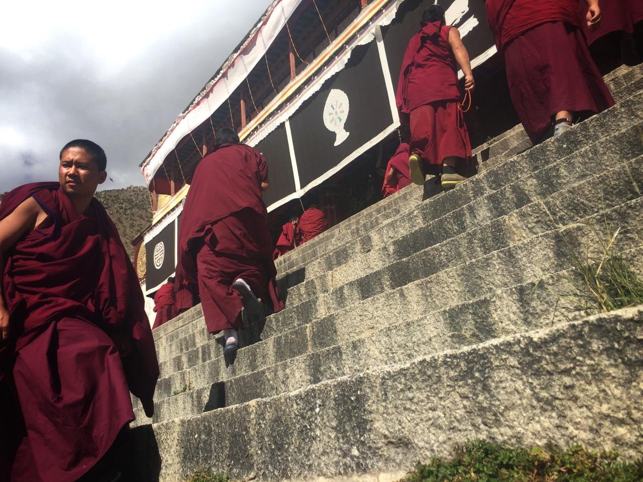 Following the monk debates.  Drepung Monastery, Tibet.