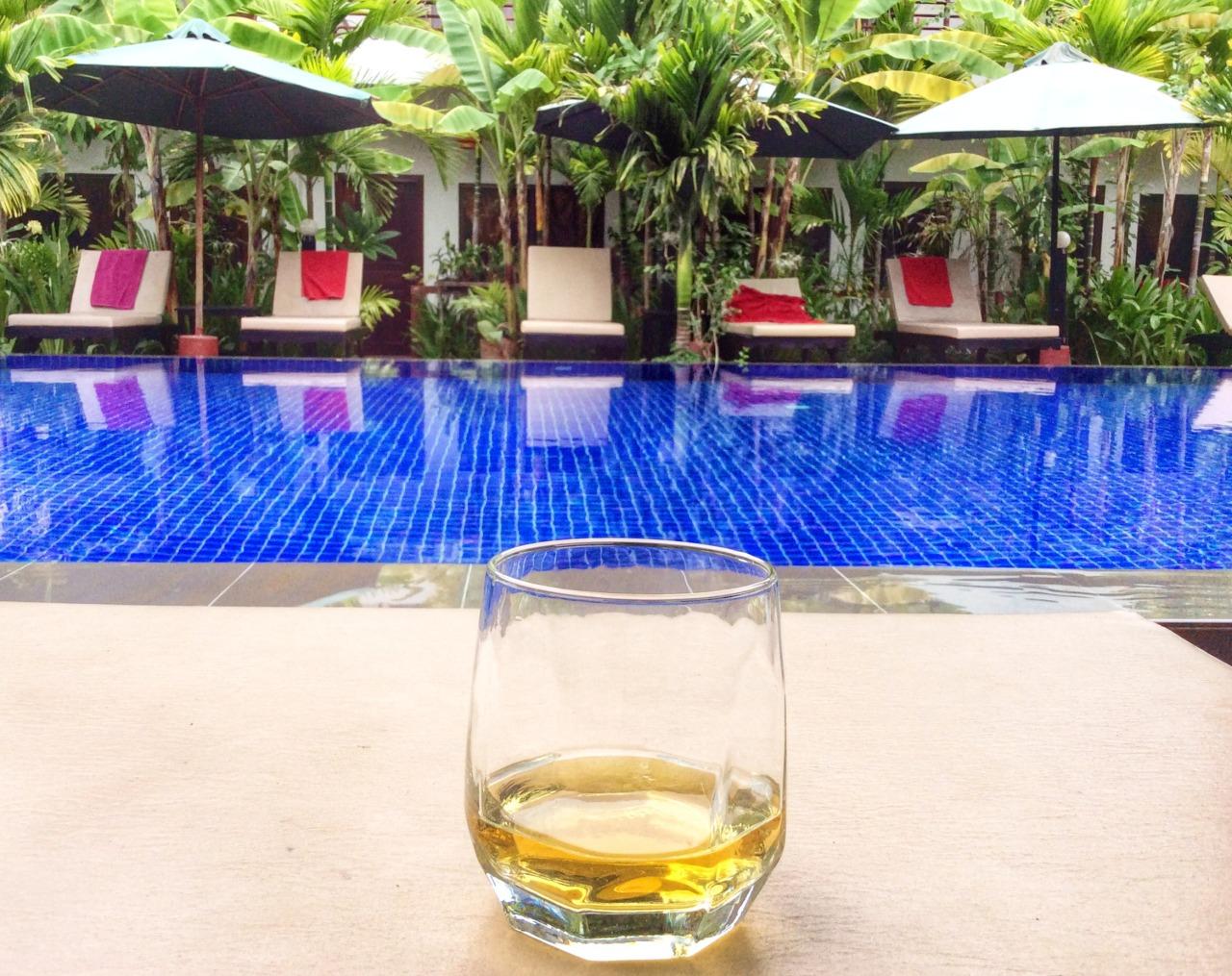Writing poolside.  Siem Reap, Cambodia.
