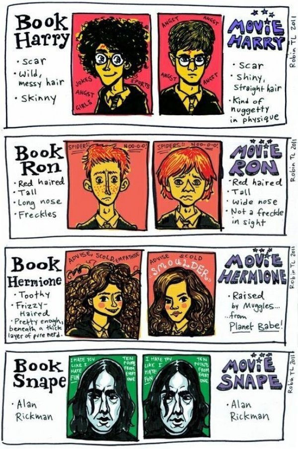 dorkly :       Harry Potter Characters: Book vs. Movie      Ten points deducted from the casting director for picking really attractive people.    Artist: Robin Tatlow-Lord