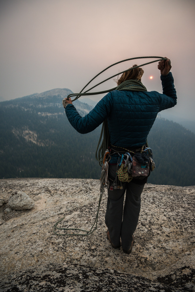 thrillinglife :     Meredith Jabis coils the rope in apocalyptic light from the Rim FIre
