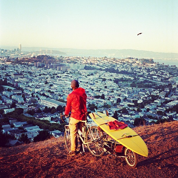 patagonia :     Dan Malloy overlooking San Francisco on the #slowisfast trip.  Photo by @kanoazimmerman     .