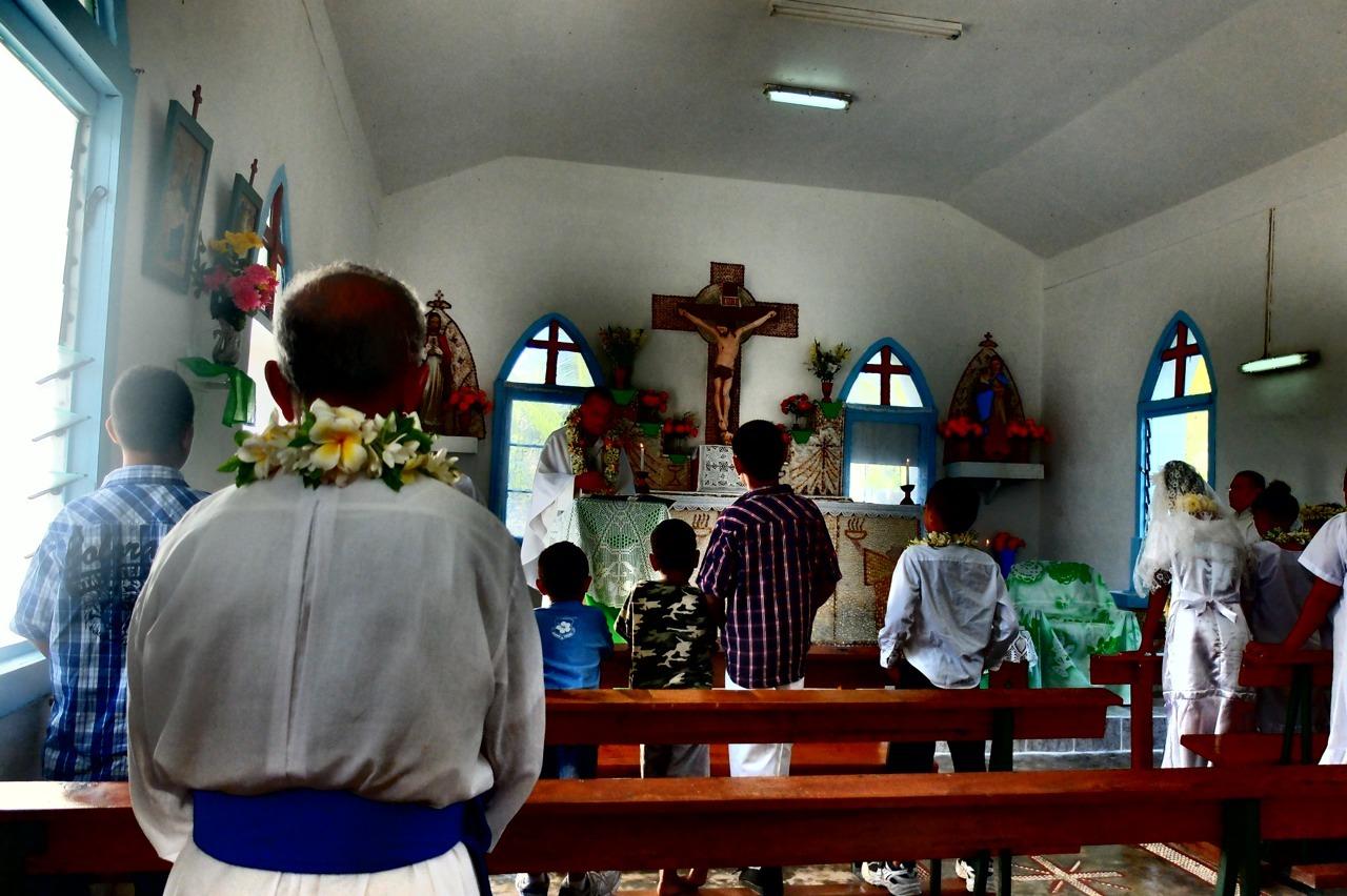 Church.    First mass in 8 years on the island of Puka Puka.    Puka Puka, Cook Islands.