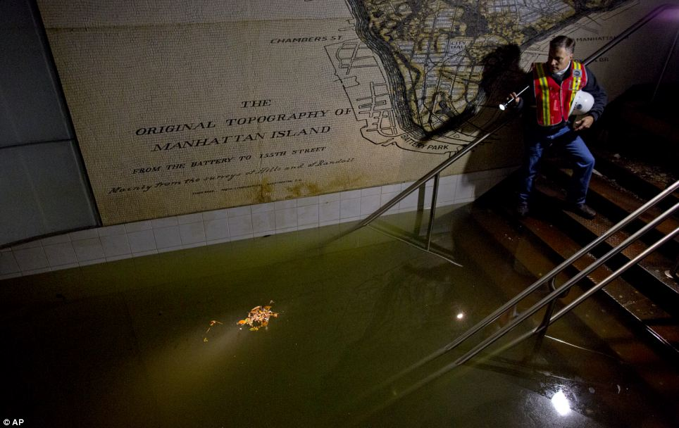 Subway flooding following Superstorm Sandy
