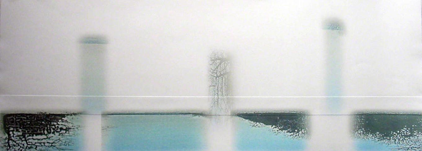 "Sentinel , inkjet monotype with embossment, 30"" x 11"" , 2004"