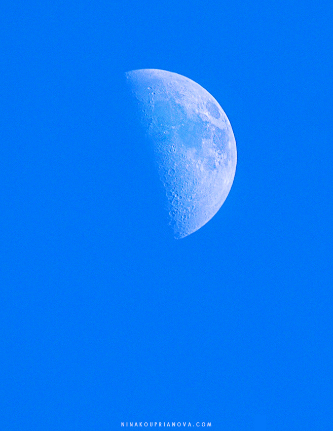 This image is from July 15. Not bad for a 7:50-pm Moon in a clear blue sky, huh?