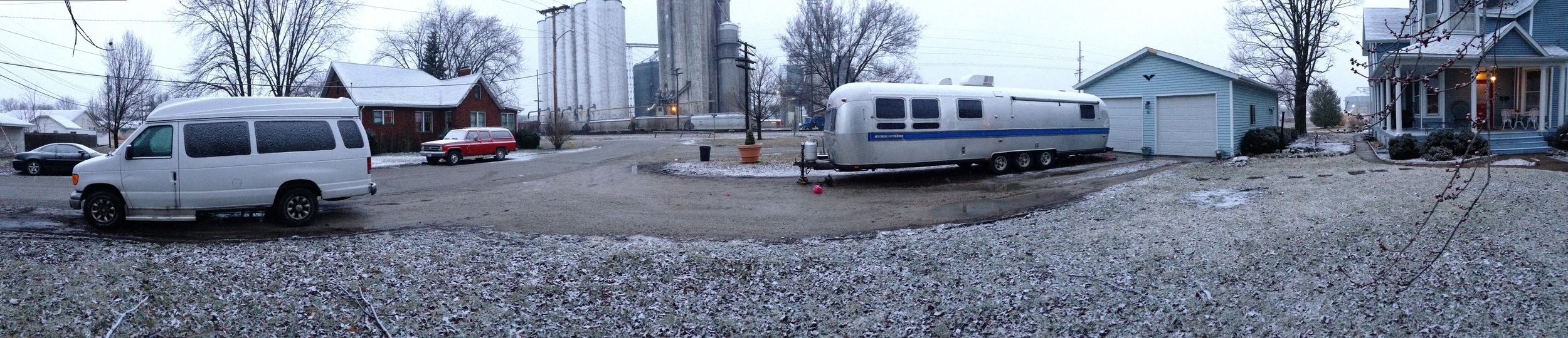 The Airstream parked in Effingham on a snowy Monday.