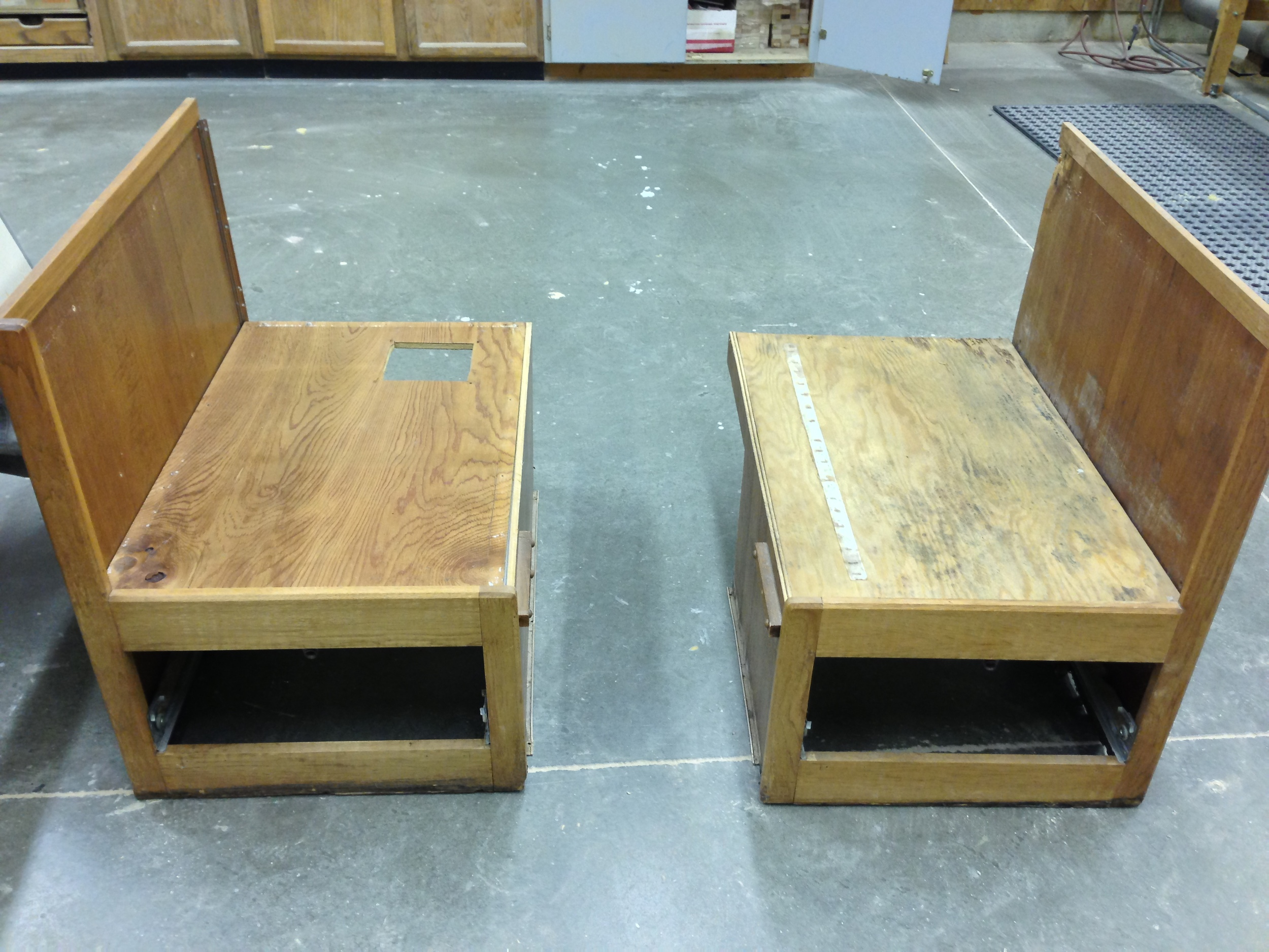 The Dinette benches removed and prepared for restoration