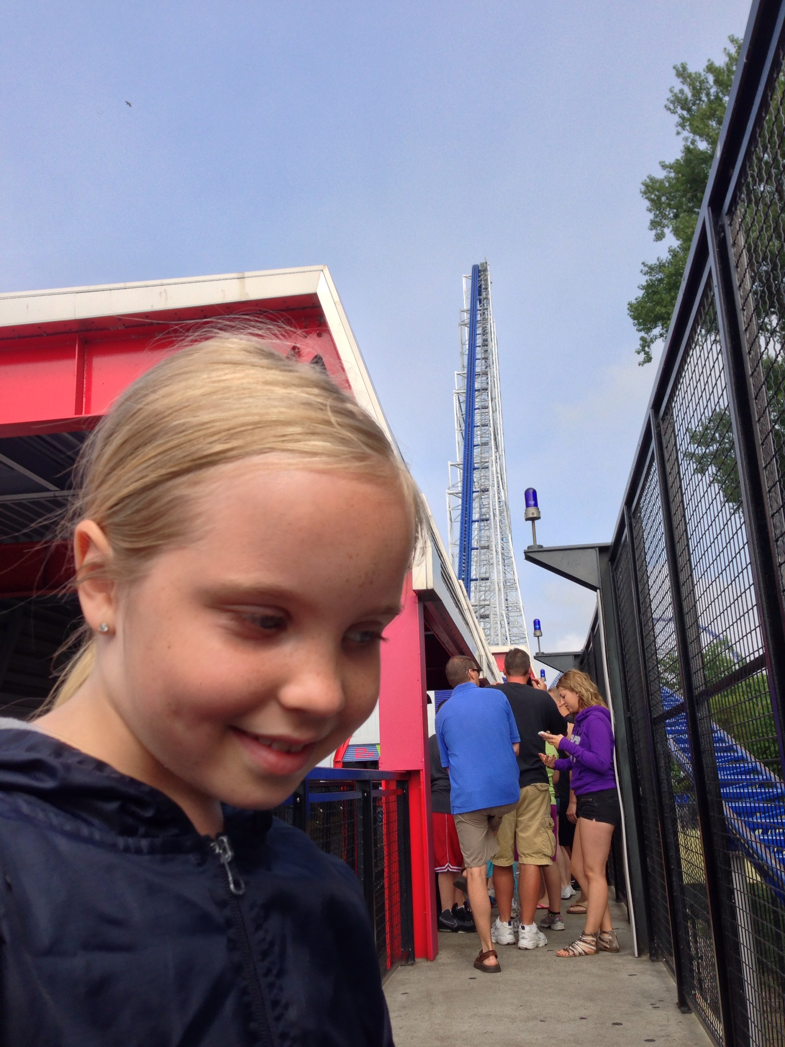 Trinity waiting in line for the Millenium Force.