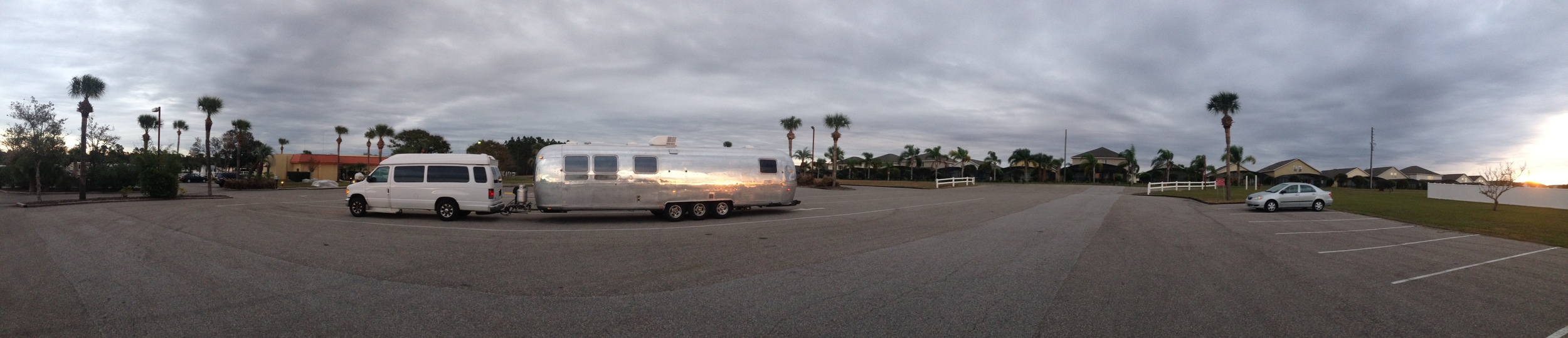 Pulling in to the campground at dusk.