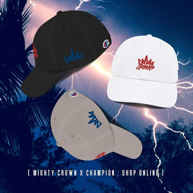 THE MIGHTY CROWN LOGO X CHAMPION DAD CAP     Now available online only! Three color ways black, white and tan! Red and blue accents. SPECIAL DELUXE ONLINE SALE! Shop now!