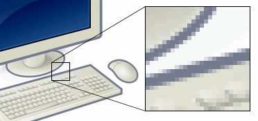Magnifying a digitalimage shows that it is made up of tiny blocks of color called pixels.  Source: Wikipedia