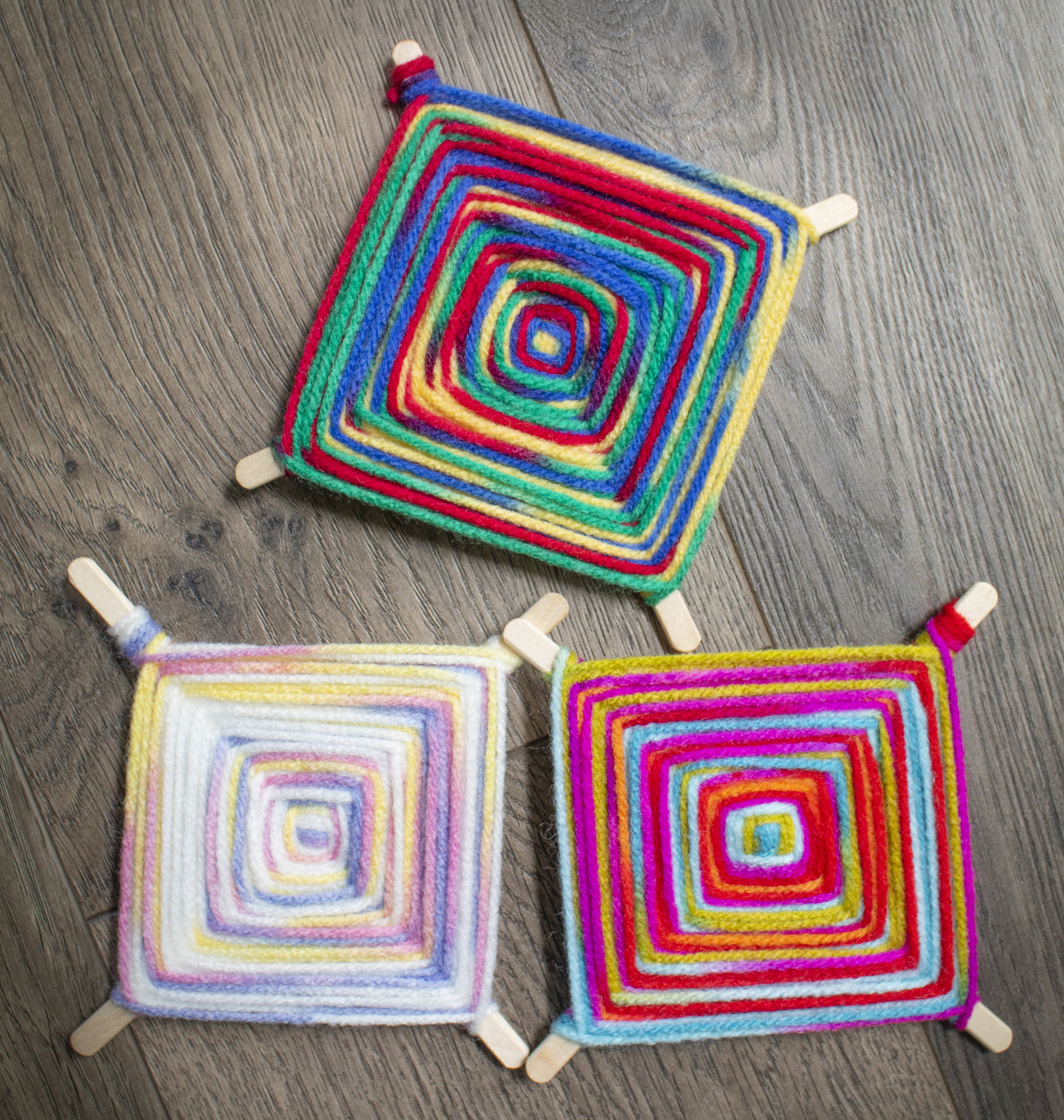 We are making these wonderful, colorful weaving projects, called god's eyes